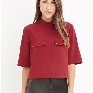 Red Contemporary Mock-Neck Pocket Top, XS